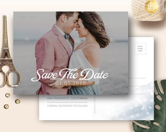 Save The Date Postcard Template for Photographer, Engagement Wedding Annoucement Card Photoshop Template Card - INSTANT DOWNLOAD SD002