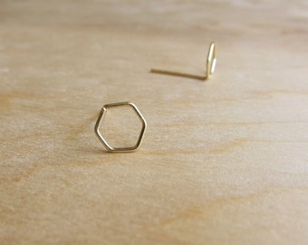 Sterling or 14k Gold Stud Earrings - Hexagon Earrings - Tiny Studs - Minimalist - Wire Wrapped Earrings - Geometric - Delicate Earrings