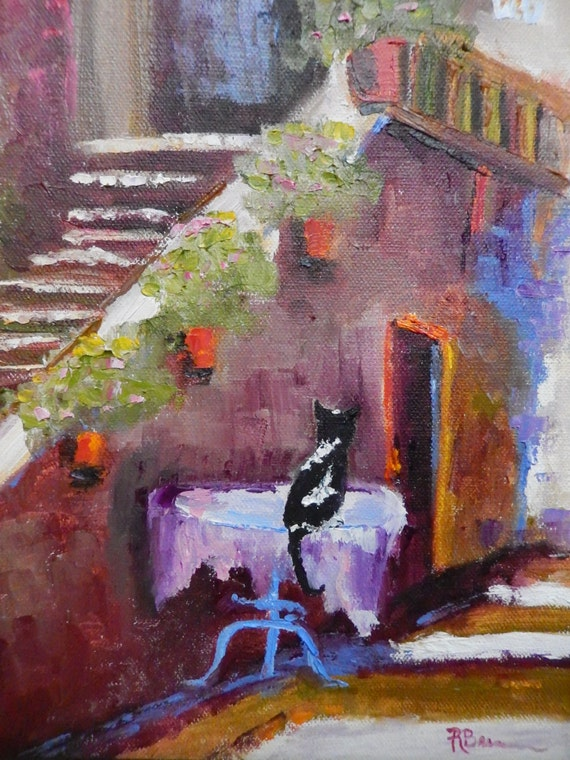 Cat Lover Painting, City Art, Cat Waiting For Dinner, Animal Art