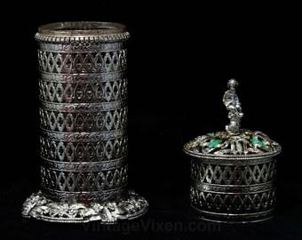 Boudoir Container - Silvertone Metal Lattice Style Cylinder Case & Lid - 60s Hollywood Regency - Cherub - Jade Green Rhinestones - 46152