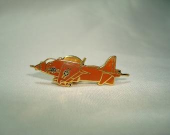 Vintage Unites States Air Force Jet Fighter Airplane Lapel Pin in Orange Enamel.