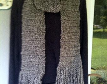 Scarf Hand-crocheted Gray Homespun Yarn