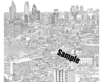 London in ink [view two] (PRINT) 49.8x49.8cm