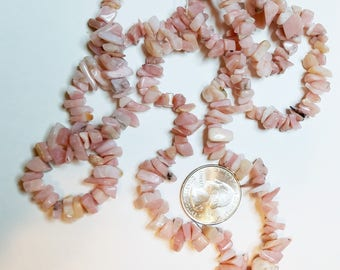 Rich Earthy Natural Pink Opal Gemstone Chip Beads 34""