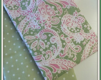 Paisley and Polka Dots Celery Green Pink for baby Girl  Burp Cloths - Set of 2