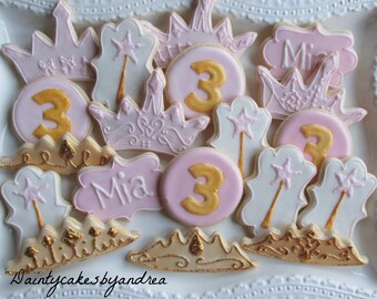 1 dozen custom sparkly princess cookies!