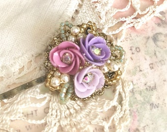 sweet antique brass bobby pin with Swarovski pearls and lavender purple pink porcelain flowers #1042-18