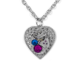 Steampunk Jewelry Necklace Vintage Watch Silver Filigree HEART Red Capri Blue Crystal Wedding, Holiday Bridesmaids Gift - Steampunk Boutique