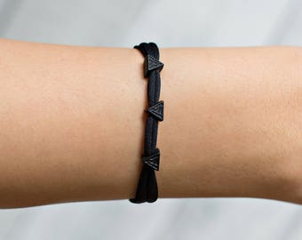 Black Triangle Bracelet - Triangle Bead Bracelet - Geometric Bracelet - Black Bead Bracelet - Black Stacking Bracelet - Black Charm Bracelet