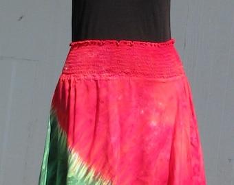 Tie Dye Hankie Hem Hobo Skirt in Watermelon