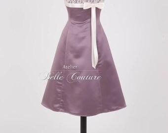 Custom Made & handmade-a-line dress mauve art.: Mauve