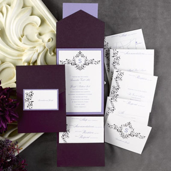 Carlson Craft Pocket Wedding Invitations: 72 DIY Pockets For Wedding Invitations Eggplant Purple