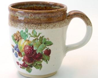 Vintage Style Mug. Tan. Glossy White. Fruit.