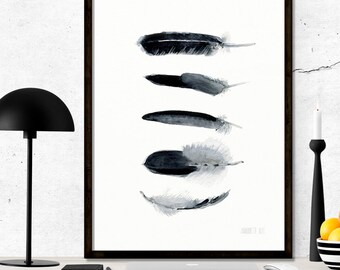 Black and white feather art work. Minimalist art print from watercolor painting. Modern artwork of black bird feathers. 5 black feather art.