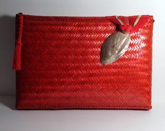 Bonwit Teller Wicker Red Clutch Purse - Seashell & Snakeskin Detail