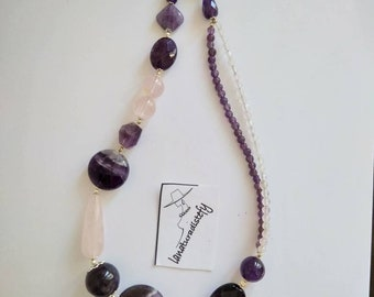 Amethyst necklace, rose quartz natural stones and silver, gift for her, handmade.