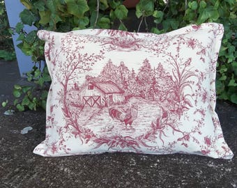 Farmhouse Toile Pillow Chicken Pillow Red Toile Pillow 12 x 16 Pillow