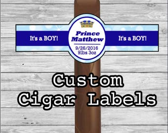 Set of 16 Personalized Cigar Labels, It's a Boy, Prince, Crown, New Baby Cigar Labels, Party Favors, Gift, Cigar band, Custom Baby Shower