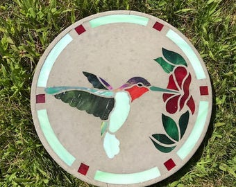 Stained Glass, Glass Art, Hummingbird, Bird, Spring, Garden, Outdoor, Stepping Stone, Pond, Yard Decoration, Mother's Day