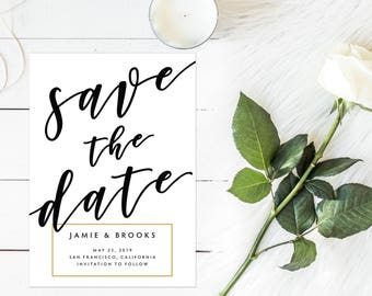 Modern Save the Date, Black and Gold Save the Date, Simple Save the Date, Modern Script Save the Date