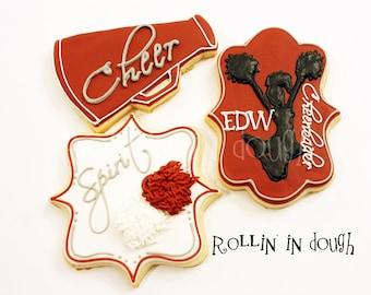 Cheerleader Cookies, Cheer Cookies, Cheerleader, Megaphone, Pom Poms - 1 Dozen
