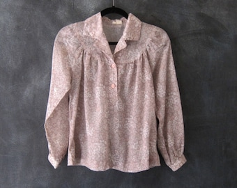 70s Sheer Floral Smocked Blouse Boho Hippie Lilac Button Down Top Ladies S/M