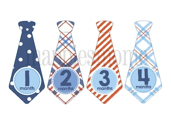 Monthly Baby Boy Tie Stickers, Baby Month Stickers, Monthly Bodysuit Sticker, Monthly Stickers, Milesone Stickers Red Blue Plaid(Toby)