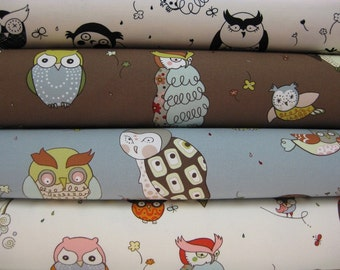 Alexander Henry Fabric, Fashion for Home, What a Hoot, Yard Set, 4 Total