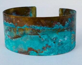 Turquoise Brass Patina Cuff Bracelet