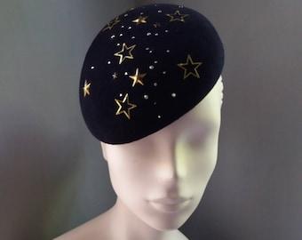 Cocktail Hat Navy Blue Stars Celestial