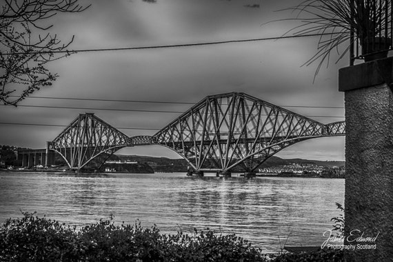The Forth Bridge, Monochrome, Landscape Photography, scottish print, wall art, fine art photography, river, scottish photography, Bridge Art