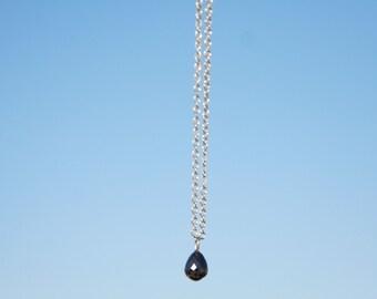 Black Diamond Necklace, White Gold Necklace, Pendant necklace, Solitaire Necklace, Natural diamond, Chain necklace, 14K White Gold Chain