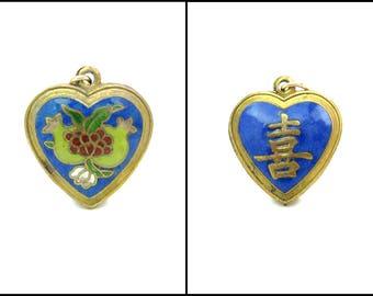Cloisonné Enamel Heart Pendant Chinese Export Pomegranate Fruits Shou Longevity Good Luck Gold Gilt Puffy Heart Vintage Asian Jewelry