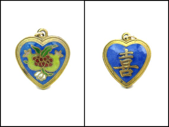 Vintage Chinese Export Cloisonné Enamel Heart Pendant with Pomegranate Fruits & Shou Longevity