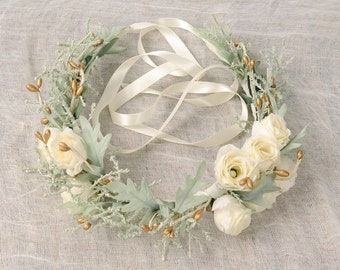 Floral Crown Wedding Accessory Hair Piece Ivory Rose Flower Headpiece Bridal Headband Head Wreath Halo Sage Green Leaves Gold Berry Circlet