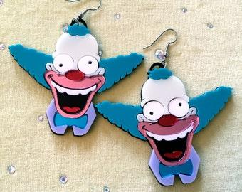 Krusty the Clown Laser Cut Acrylic Laser Cut Earrings