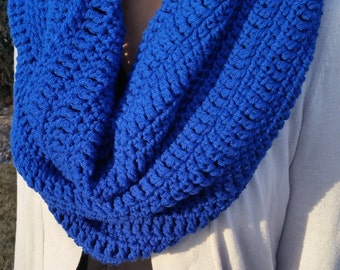 Blue Infinity Scarf, Blue Scarf, Blue Loop Scarf, Blue Circle Scarf, Blue Crochet Scarf, Blue Crochet Infinity Scarf