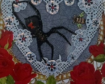 Black Widow Card-Love, Lover spiders, spider, rose, red roses