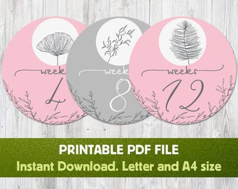 Printable Pregnancy Sticker - Flowers, Belly Bump Stickers, Weekly Pregnancy Stickers, Pregnancy Milestone, Maternity Stickers, Download