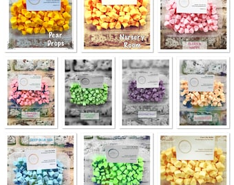 25 samples of our top quality melts/ all clp Labelled / soy wax/ highly scented/ offer
