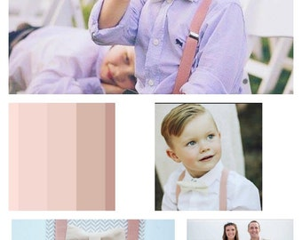 Boys Bow Tie with Blush Suspenders, Boys Bow Tie and Suspender, Boy Suits, Blush Wedding Bow Tie, Ring Bearer Outfit, Bow Tie