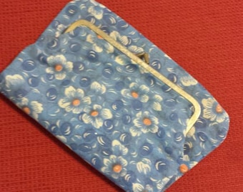 Fold over Clutch Blue and Orange Floral // 60s // vintage