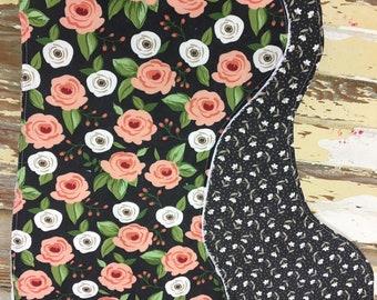 Black floral themed burp cloth, set of 2