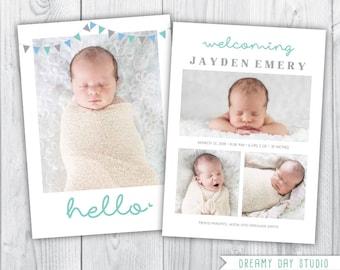 hello birth announcement / birth announcement / baby birth announcement / boy birth announcement / birth announcement template / INSTANT