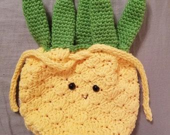 Crochet pineapple purse amigurumi face drawstring bag yellow green