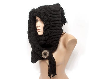 Black hooded, Hooded Scarf, Scarf, Hood, scarf hooded, Chunky scarf, Choose colors, Cowl by LoveKnittings