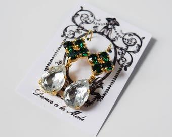 Emerald Green Crystal Earrings, Georgian Paste Earrings, 18th Century Jewelry, Green Diamond Wedding Earring, Regency Jewelry Emerald Green