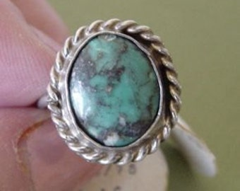 SALE Was 15.00 Now 8.00 Vintage Native American Indian Turquoise Ring Pinky Sz 4 Weight 3.3 grams Sterling UNWORN w/Tags NOS