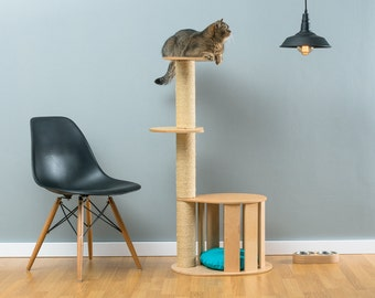 Awesome Cat House With Sisal Tree Cletis Natural | WORLDWIDE SHIPPING | Modern Cat  Furniture | Climb