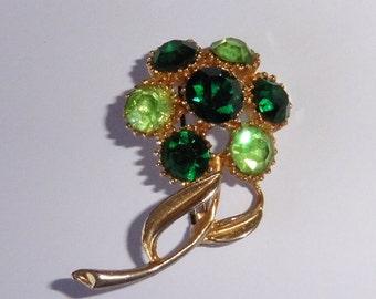 Vintage Emerald Green Stones Flower Brooch
